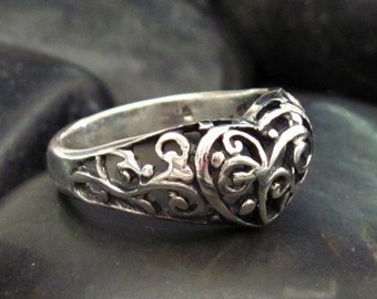 Fancy Small Scrollwork Heart Sterling Silver .925 Ring - Fancy Scrollwork - Bali Design Style - Multiple Sizes