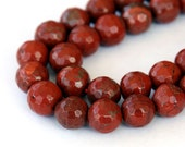 Red Jasper Beads, 8mm Faceted Round - 15 inch Strand - eGF-JA013-8
