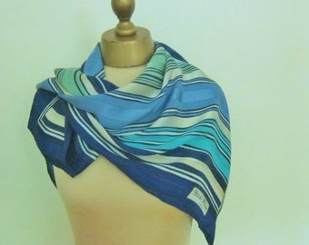 Striped silk scarf, large square,  vintage 80s , Blue, hand rolled, Petite Fleur Paris, French silk scarf