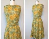 60s cotton rose print dress size small - medium / vintage floral dress