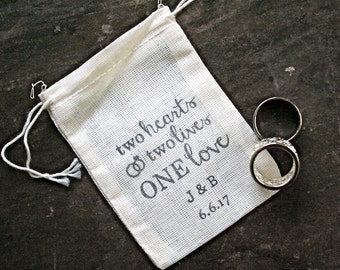 Personalized wedding ring bag.  Ring pillow alternative, ring bearer, ring warming ceremony.  One Love with initials and date.