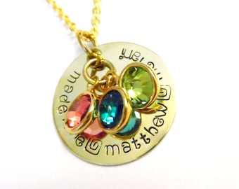 Hand Stamped Jewelry, Name Necklace, w/ Birthstones, Personalized Family Necklace, Mom's Necklace, Gift for Moms, Handstamped, Gifts for Her
