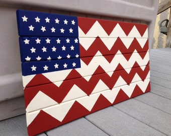 Wooden Hand Painted American Flag with Chevron Design