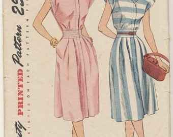 Vintage 1947 Simplicity Pattern 2018 Misses One-Piece Dress Size 15 Bust 33