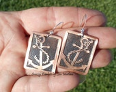 Anchor Earrings, Nautical Jewelry, Copper Earrings, Etched Earrings, Beach Jewelry, Copper Jewelry, Handmade Earrings, Ready to Ship