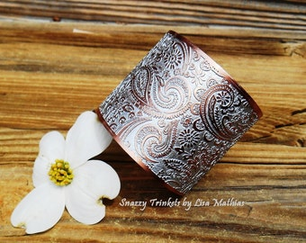 Paisley Jewelry, Mixed Paisley Cuff, Paisley Bracelet, Wide Cuff Bracelet, Copper Bracelet, Handmade Jewelry, Ready to Ship, Jewelry Gift