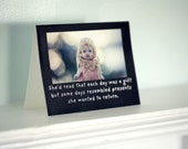 "Porcelain Doll Card Notecard Adventures of Claudia ""Each Day Was A Gift But"" Typographic Greeting Funny Stationary"