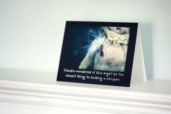 """Typographic Card Greeting Porcelain Doll Adventures of Claudia """"The Closest Thing To Holding A Whisper"""" Stationary"""