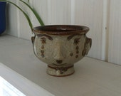 Vintage Bangholm Ceramic small Bowl, made in Denmark - Brown and Grey Glaze - rare small pottery Bowl