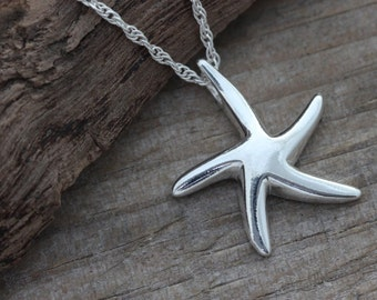 Starfish Necklace,  Sterling Silver Starfish Necklace - Charm, Pendant . Bridesmaid - bridesmaid . Beach Wedding, Ocean Theme, Nautical