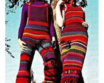 Vintage Crochet Hippie 70's Overalls & Dress PDF Pattern - INSTANT DOWNLOAD