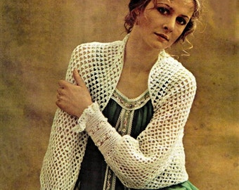 Vintage 70's Crochet Shrug PDF Pattern - Instant Download