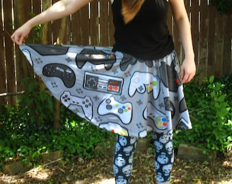 Game Controller Pattern Skater Skirt