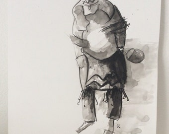 Kachina with Gourd Basket Behind His Back original drawing by Melanie Knox