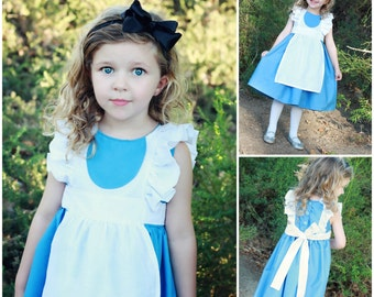 Alice in Wonderland inspired party dress custom sizes 6-12 to 3t
