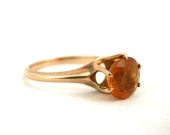 Edwardian Era 10K Gold Citrine Solitaire Ring sz 5 Antique Estate Jewelry