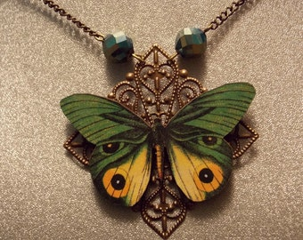 Green and Yellow Butterfly Necklace