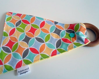 Crinkle Teething Toy with Wooden Ring, Minky, Teether, Mosaic, Geometric