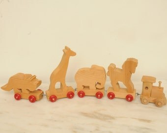 Wooden Circus Train Pull Toy with Animals