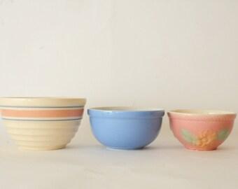 Vintage Mixing Bowls Pink Blue Set of Three