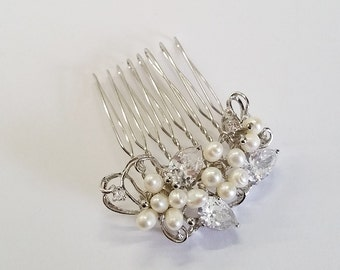 Sterling Silver CZ Crystal Freshwater Pearl Bridal Comb Hair Brooch Wedding Hair Accessory