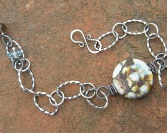 Glass Disc Bracelet  // Etched Glass Jewelry // Blue Topaz, Smoky Quartz