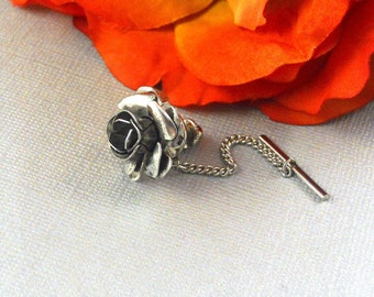 Silver  Flower Rose Tie Tack, Small Vintage Inspired, Romantic Floral Tie Pin