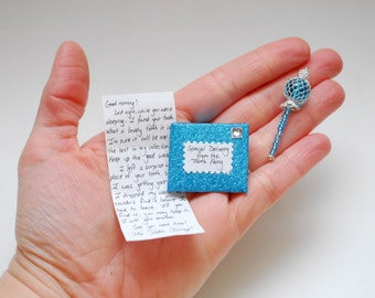 Letter and Wand from the Tooth Fairy- teal blue, tiny and customized