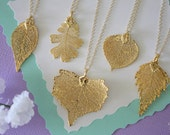 5 Bridesmaid Necklaces, Bridesmaid Gift, Real Leaf Necklaces, Real Leaves, Dipped Leaf, Bridal Gift, Party Gift, Gold Leaf