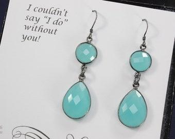 5 Pair of Bridesmaid Earrings Teal, Gemstone, Bridesmaid, Bridesmaid Gift, Teal, Blue, Bridesmaid Jewelry, Dark, Sterling Silver