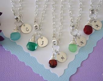 12 Personalized Bridesmaid Bracelet, Monogram Gift, Initial & Gemstone Sterling Silver Bracelet, Custom, Bridesmaid Jewelry, Initial Charm