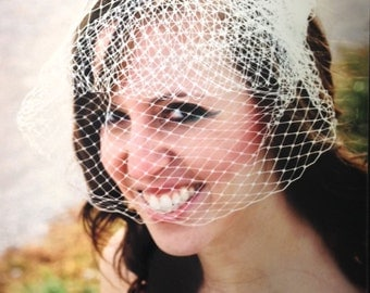 "Birdcage Veil, Bird Cage Veil, Wedding Veil, Blusher Veil, Large Full Bridal Veil in Russian Netting - 9"" in White, Cage veil"