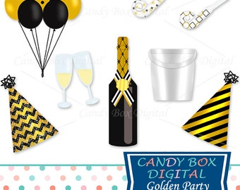 Gold Party Clipart, New Year Champagne Clip Art - Commercial Use OK