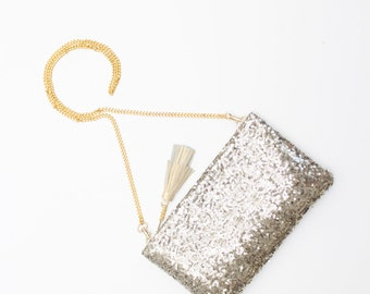 SALE / KATE 16 / Light gold sequin & vegan leather shoulder chain purse with leather tassel - Ready to Ship
