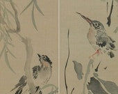 Antique Japanese Fine Art Painting Wall Hanging Scroll a pair of Bird and Flower painting  Kakejiku – 111021