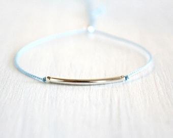 Dainty Sterling Silver Tube Bead Bracelet Minimalist Friendship Jewelry Best Friend Gift Thin Silk Cord Bracelet