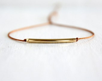 Minimalist Gold Silk Cord Bracelet Boho Chic Metal Jewelry Gold Filled Tube Bead Dainty Stack Friendship Bracelet