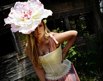 Giant Rose Pink Fascinator,Peony,Huge,Bloom,headpiece,headdress,Derby hat,Rose,Flower,headdress, flower,HAT