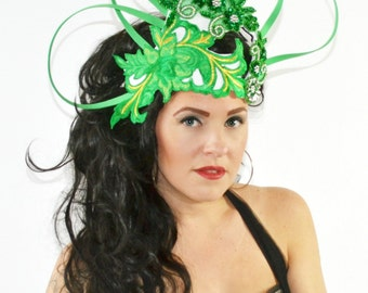 Green,Kelly,Fascinator,Derby,Loops,Crown,Hat,headpiece,High fashion,headpiece,headdress,