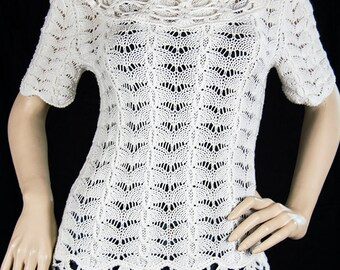 Beautiful and Elegant Cotton Crochet Hand Knitted Sweater