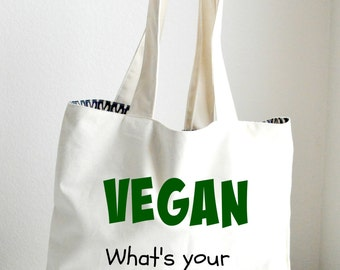 Vegan Tote Bag Large, Sturdy, Heavyweight Canvas Grocery Bag / Bride Bag / Tote / Beach / Funny / Canvas