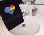 This Love Rainbow Heart Plush Bath Towel In Black