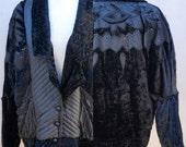 90s Black Velvet Jacket, 80s Velvet Coat, Oversized Jacket, Light Down Jacket with Sequin Details, Black Sequin Jacket, Black Beaded Jacket