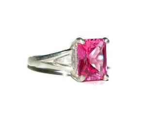 Pink Sapphire Ring, Sterling Silver, Emerald Cut Gemstone