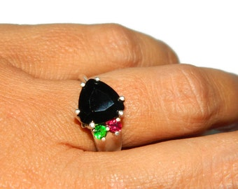 Ring With Accent Stones, Black Diamond Ring, Three Stone Ring, Multi Stone Ring,  Sterling Silver Ring, Size 7