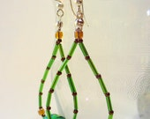 Paper Bead Dangle Earrings, Green, Brown, Beaded Dangle Earring, Silver, Long Dangle Earring, Paper Jewelry, Green Earrings