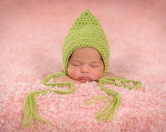 Newborn Photo Prop Newborn Baby Girl Hat Newborn Baby Boy Hat Newborn Baby Hat Green Newborn Photography Prop Pistachio Pixie Hat Elf Hat