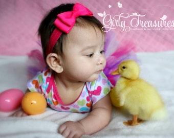Shocking Pink Bow Headband. Pink Bow Headband. Baby Headband. Girl Headband. Baby Hair bow Headband. Photo Prop.