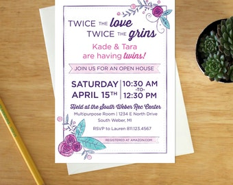 Digital Watercolor Baby Shower Open House Invitation