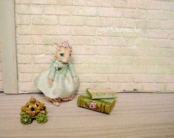 """For Linda -  Hand-sculpted Rabbit Doll - under 1.5"""" - Antique blue glass eyes - Antique Pink Lace - Jill Dianne dollhouse miniatures"""